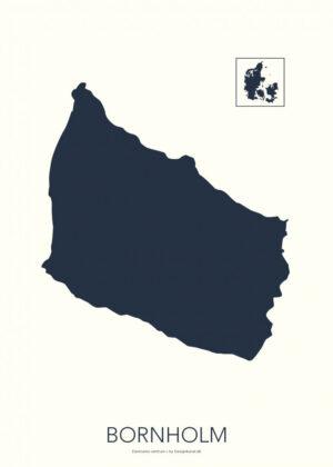 Bornholm kort-plakat koksblå