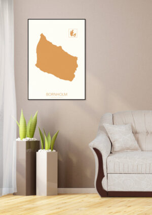 Bornholm kort-plakat jordfarve