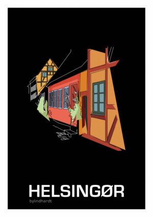♥ Helsingør Bykerne plakat By Lindhardt